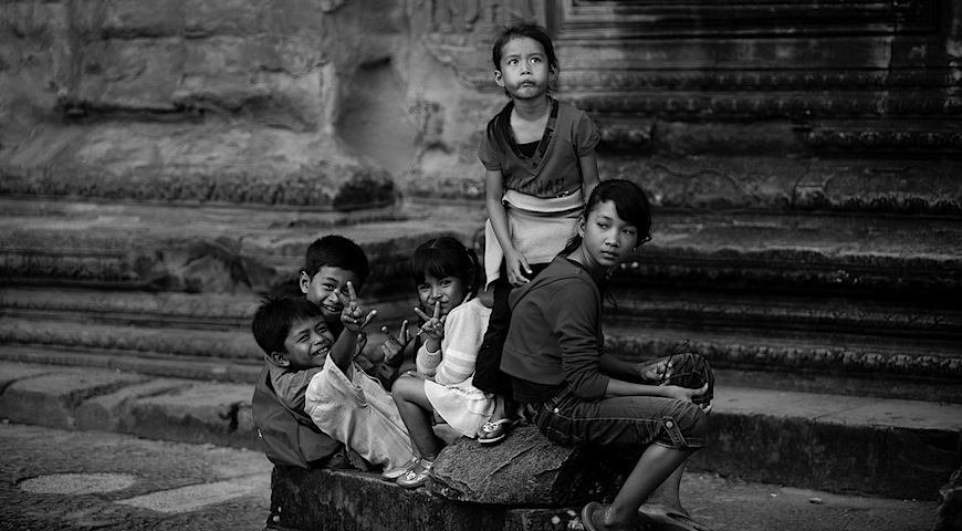 Kids at Angkor. Love the one standing.